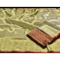 Golden Tissue Saree with Frills -110WA0076