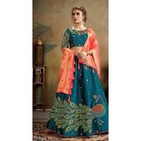 Pure Silk Lehenga with embroidery -PF5018