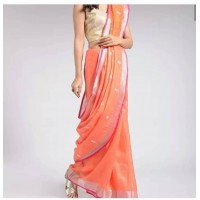 Linen by Linen Embroidered  Saree - N115WA0033 - Orange