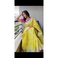 Linen by Linen Embroidered  Saree - N115WA0036 -Yellow