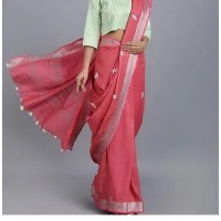 Linen by Linen Embroidered  Saree - N115WA0038