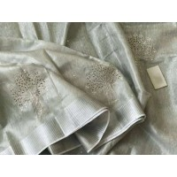 Pure Silver Tissue Linen  Saree with cutwork -N115WA001