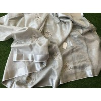 Pure Silver Tissue Linen  Saree with cutwork -N115WA006