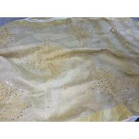 Pure Gold Tissue Linen  Saree with  cutwork saree - N115WA007