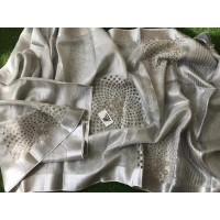 Pure Silver Tissue Linen  Saree with cutwork embroidery -N115WA008