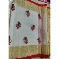 Pure Linen saree with  embroidery -N115WA012
