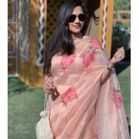 Pure Organza Silk Saree - Hand painted -Pink