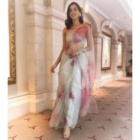 Pure Organza Silk Saree - Hand painted -White with pink heart