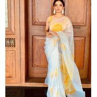 Pure Organza Silk Saree Hand painted - White with golden yellow heart