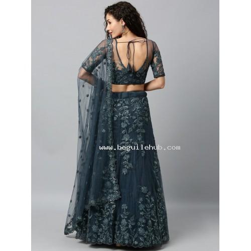 Net Lehenga choli embroidered  set - Grey