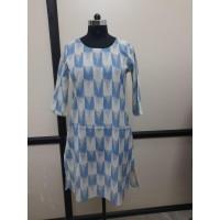 Printed Cotton Kurti  VO130-7  White with blue print