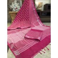 Linen Slub Saree with Zari border - Handloom saree - Block Printed - SJ131F 1/2/3