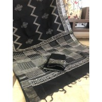 Linen Slub Saree with Zari border - Handloom saree - Block Printed  -Black-SJ131F4