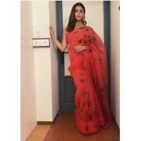 Pure Organza Silk Saree Hand painted - Red organza saree - TI125R - Alia bhat Saree