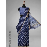Pure Chanderi Silk Saree with Block print  with blouse    IND002
