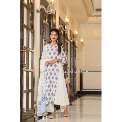Cotton kurti printed with pant and duppatta  -VO134h