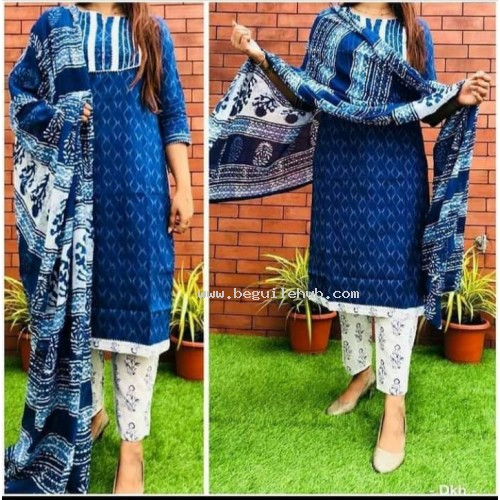 Cotton kurti printed  with pant and duppatta - VO134i