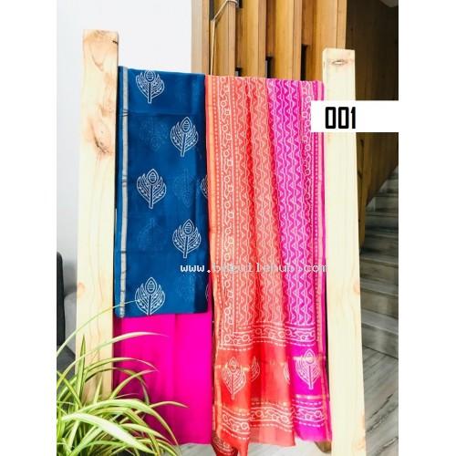 Chanderi silk  salwar suit set block printed Unstitched material  - VO137a