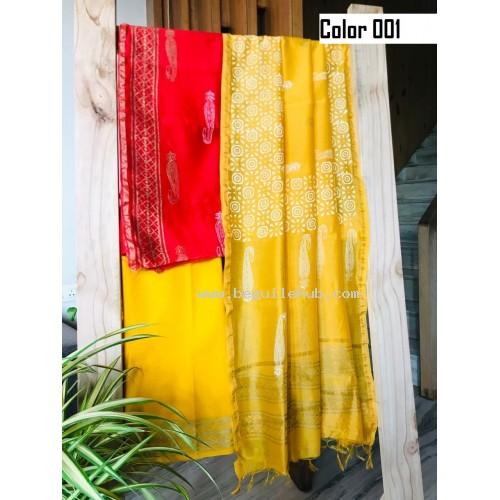 Unstitched  Chanderi silk  salwar suit material block printed   VO137b