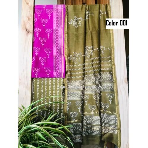 Unstitched chanderi silk salwar set block printed VO137c