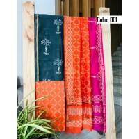 Unstitched chanderi silk salwar set block printed VO137d