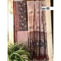 Unstitched chanderi silk salwar set block printed VO137e
