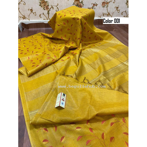 Tusser Silk Saree with embroidery  N138B001 - From Silk Collections