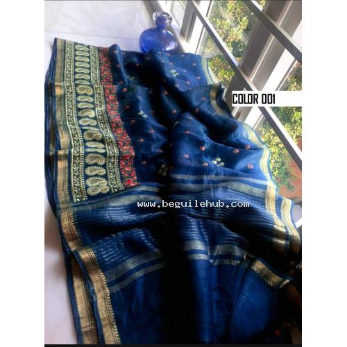 Linen silk saree - Handloom sarees -Embroidery sarees - N139A001