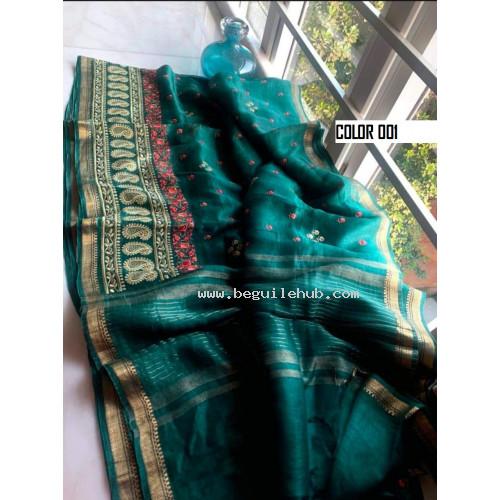 Linen silk saree - Handloom sarees -Embroidery sarees - N139B001