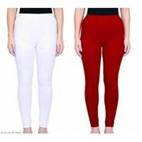 Leggings - White/Mehroon -Plain color Leggings - Stretchable Leggings -Combo offer  !! Vb007c