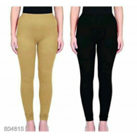 Leggings - Beige/black -Plain color Leggings - Stretchable Leggings -Combo offer  !! Vb007e