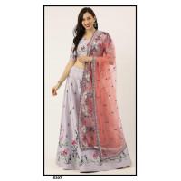 Satin Silk  Lehenga choli embroidered  set - Grey Lehenga - PL5307 - Party wear Lehengas
