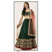 Satin Silk  Lehenga choli embroidered  set - Green Lehenga- PL5310 - Party wear Lehengas