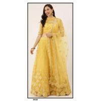 Net Lehenga choli embroidered  set - Yellow Lehenga - PL5315 - Party wear Lehengas
