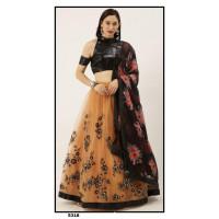 Net Lehenga choli embroidered  set - Peach Lehenga - PL5318 - Party wear Lehengas