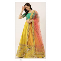 Satin Silk  Lehenga choli embroidered  set - Yellow Lehenga- PL5320 - Party wear Lehengas