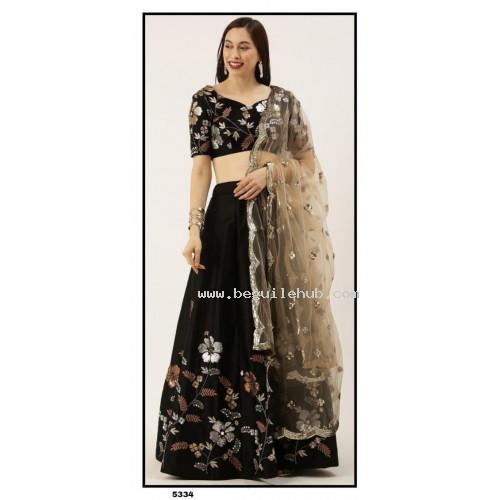 Satin Silk  Lehenga choli embroidered  set - Black Lehenga- PL5334 - Party wear Lehengas