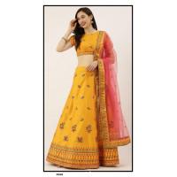 Satin Silk  Lehenga choli embroidered  set - Yellow Lehenga- PL5348 - Party wear Lehengas