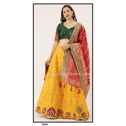 Pure  Silk  Lehenga choli embroidered  set - yellow Lehenga- PL5349 - Party wear Lehengas