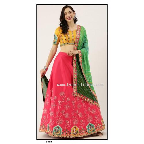 Satin Silk  Lehenga choli embroidered  set  with bandhini dupatta-  PL5358 - Party wear Lehengas