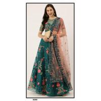 Net Lehenga choli embroidered  set - Teal Lehenga - PL5359 - Party wear Lehengas-Wedding lehenga -Girls lehenga choli-Designer lehenga choli set