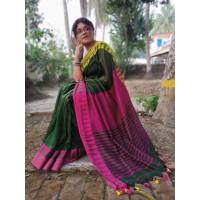 Pure Khadi Cotton saree - Dark Green Saree - Temple design saree -Dailywear saree