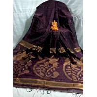 Sequence work saree - Maroon saree -Partywear saree -Exclusive sarees