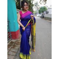 Pure Khadi Cotton saree - Blue Saree - Temple design saree -Dailywear saree