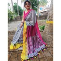 Pure Khadi Cotton saree - Grey Saree - Temple design saree -Dailywear saree