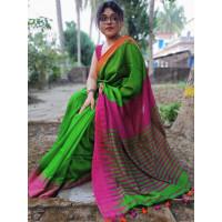 Pure Khadi Cotton saree - Green Saree - Temple design saree -Dailywear saree