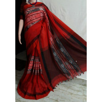 Pure Cotton  Saree - Fish motive Saree - Handloom Cotton Saree - Dark red combo