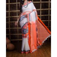 Pure Cotton  Saree - Fish motive Saree - Handloom Cotton Saree - White and orange combo