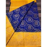 Blue & Yellow Linen Silk Benaras Handloom Saree - 0021