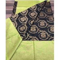 Black & Green Linen Silk Benaras Handloom Saree-0029